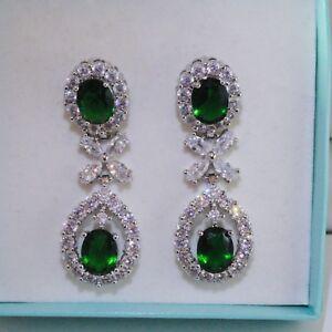Women Statement Green Emerald Sim Diamond Gold GF Drop /Dangle Earrings, BOXED