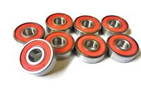 8 Pack 608 2rs Xtreme ABEC 5 SWISS REDS SKATEBOARD RATED BEARINGS SCOOTER