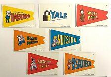 1967 Topps Card Comic Pennants Insert Vintage LOT Yale Harvard DiskoTech Boston