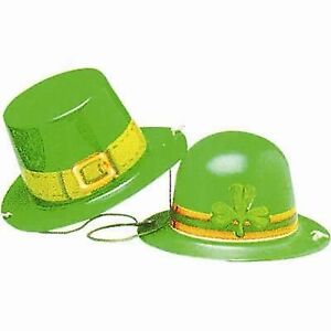 St Patrick's Day Mini Top Hat OR Bowler Hat with Elastic - Irish Party Supplies