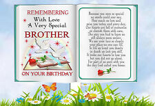 BROTHER BIRTHDAY BOOK SHAPED MEMORIAL BEREAVEMENT GRAVESIDE  CARD & FREE HOLDER