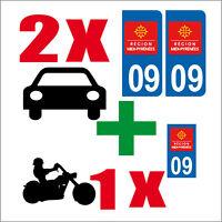 Lot 3 STICKERS 2 x AUTO+1x MOTO STYLE PLAQUE IMMATRICULATION DEPARTEMENT 09