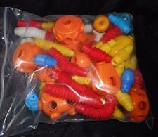 LOT OF 60 VINTAGE TOMY POPOIDS BENDABLE PLASTIC BUILDING PIECES PARTS HEAD WHEEL