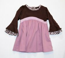 Rabbit Moon Layered Bell Long Sleeve Brown & Lavender Dress, 12-18 mos.
