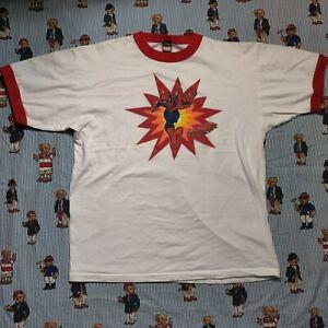VTG 2002 Mad Engine Marvel Amazing Spider Man White Red Ringer T Shirt LARGE