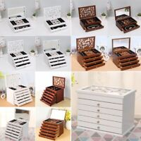 2020 Wooden Jewellery Box Ring Necklaces High Gloss Storage Organiser Glass Top