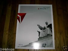 SEOUL - DELTA AIR LINES LARGE POSTER 28 x 22 - NEW-BLACK AND WHITE