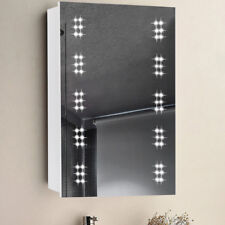 Led Illuminated Bathroom Cabinet Mirror Clock with Shaver Socket Demister Pad UK