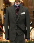 Men's Vintage Peaky Blinder Suits Herringbone 3 Pieces Wool Suits Formal Wear