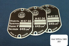IMZ Ural M-67-36 001 Frame Tag Vin Plate For Collectors Use. Exact Copy 1976-83