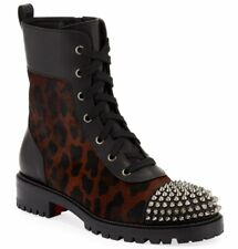 Christian Louboutin TS Croc Flat Black Leopard Pony Spike Combat Ankle Boot 40