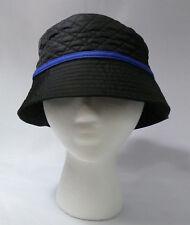 a1e9f5f2b181f Lands End S   M Primaloft Quilted Nylon Bucket Cloche Hat Black w Blue Trim