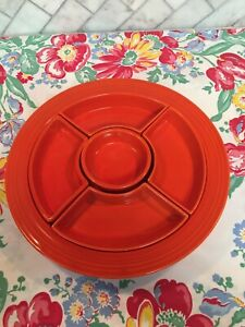 Fiesta Vintage Red Relish Tray with Inserts
