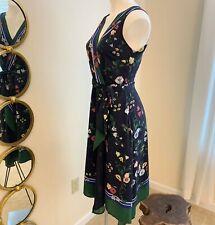 Ann Taylor Women 2P Wrap Flow Sheath Dress, Waist Tie, Navy & Green Floral Print