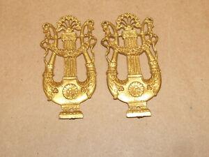 "2 Vintage Antique ITALY Decorative Lyre Instrument 3.25"" Cabinet Hardware Pieces"