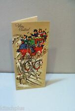 Vtg Christmas Red Stage Coach White Horses Tall Treasure Card Dickens Style