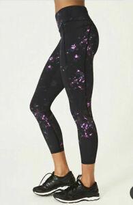 Sweaty Betty Zero gravity Running 7/8 Leggings Black Daisy Print Size XSmall