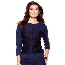 DG2 by Diane Gilman Long Sleeve Black Lace Bodice Knit T-Shirt 229839A SALE $30
