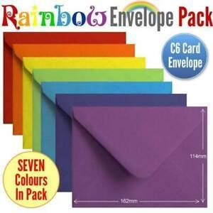 105 Colourful Rainbow Envelopes 7 Colours A6 Gummed Rainbow Coloured Envelopes