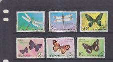 KOREA-1977-DRAGONFLIES & BUTTERFLIES SET-CTO-6 X VALUES-LGE COLOURFUL STAMPS