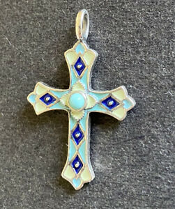James Avery Sterling Silver Byzantine Cross W/ Turquoise