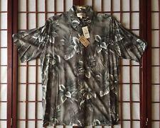 Campia Moda Gray Short Sleeve Hawaiian Sport Shirt w Trees and Flowers Men Sze M
