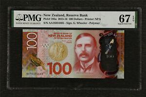 2015-16 New Zealand Reserve Bank 100 Dollars Pick#195a PMG 67 EPQ Superb Gem UNC