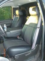 Clazzio Leather Custom Black Seat Covers for Chevy Silverado 2007-2013 Reg Cab