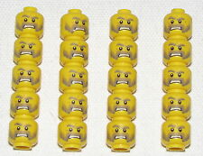 LEGO LOT OF 20 NEW MINIFIGURE HEADS WITH MUSTACHE AND SCOWL PATTERN