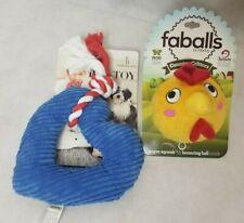 Ellen Degeneres & Faballs Dog Toys Set Of 2 Plush Heart & Chicken Squeak Ball