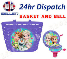 Disney FROZEN Girl's Kids  Bike Cycle Shopping Front BASKET and BELL Ring Alarm