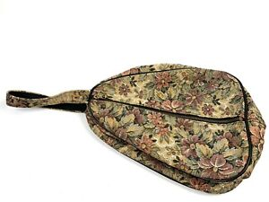 Vtg SEBA Toiletry Makeup Travel Dopp Bag Black ROMANTIC Floral Tapestry 60s 70s