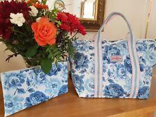 Cath Kidston Foldaway Shopper Weekend Travel Bag - Peony Blossom Mid Blue - BNWT