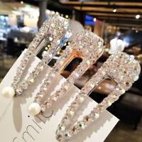 Women's Crystal Hair Clips Pearl Hair Pins Slide Bobby Pin Barrette Hair Decor