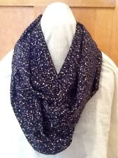 Scarf infinity cowl circle navy spotted accessory fashion vintage fabric