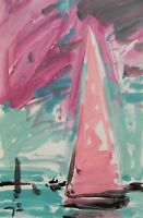 JOSE TRUJILLO - ACRYLIC PAINTING ABSTRACT FAUVIST EXPRESSIONISM SAILBOAT MINIMAL