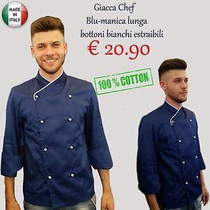 GIACCA DA CUOCO CHEF pizzeria ristorante MASTERCHEF BLU UNISEX  100%COTONE