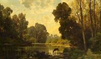 Oil painting nice sunset landscape with deer drinking water by river canvas