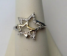 Two Stars Diamonds Ring 10k White Gold Promise Right Hand Fashion Band Star