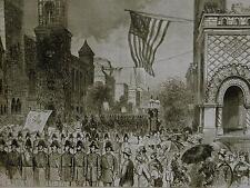 Centennial KNIGHTS TEMPLAR PARADE Philadelphia 1876 Antique Art Print Matted