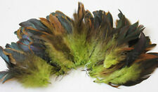 "20g (0.7oz) 4-6"" half bronze lime green schlappen coque rooster feathers ~200pc"