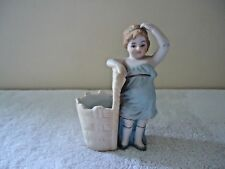 """Vintage Ceramic Woman / Girl Standing By Laundry Basket Figurine """" GREAT ITEM """""""