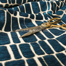 10 Metres Of Geometric Pattern Blue Cream Soft Woven Chenille Upholstery Fabric