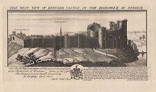 1728 ANTIQUE PRINT-BUCK-8-DURHAM-WEST VIEW OF BERNARD CASTLE