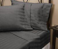 "Luxury Bedding Set All Size Dark Grey Stripe 600 TC Pure Cotton 15"" Deep"