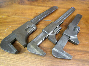 VINTAGE ADJUSTABLE AUTO MONKEY WRENCH LOT, Crescent, Mossberg, Wakefield