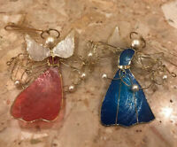 Mother of Pearl Red & Blue Gold Wire Angel Christmas Ornament Sun Catcher 4.5""