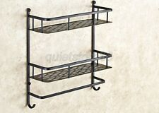 Dual Layer Shower Shelf Organizer Bath Brass Storage Bathroom Rack Holder qba526