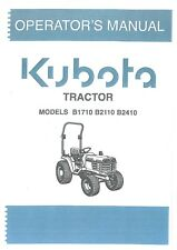Kubota Tractor B1710 B2110 & B2410 Operators Manual