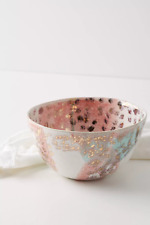 """NWT ANTHROPOLOGIE 6"""" CORAL AND GOLD STONEWARE ACCENT CEREAL ART BOWL PORTUGAL"""